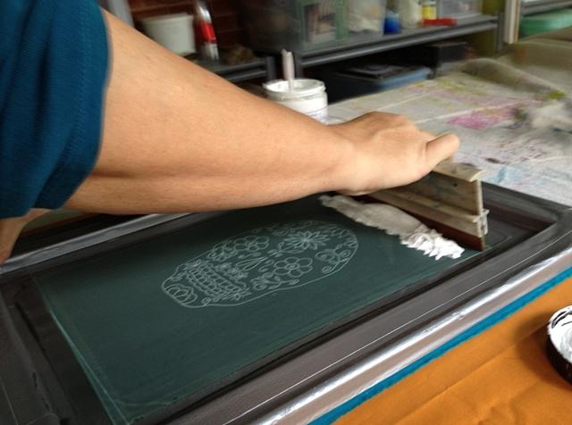 Printing the sugar skull screen...