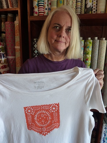 Donna with her new shirt.