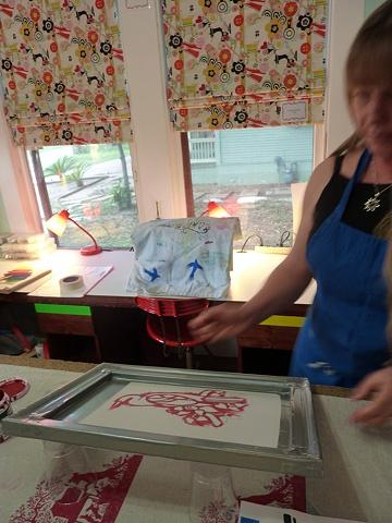 Liz, working on an acrylic paint screen.