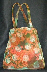 handbag made with dyed, screenprinted cotton velveteen