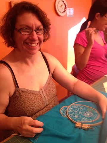 Tina and Vivian stitching.