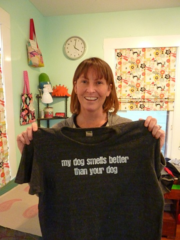 """my dog smells better than your dog""  a t-shirt for Dirty Dog dogwash emporium."