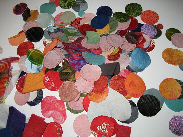 jewel-like circles of fabric waiting for students' imagination...