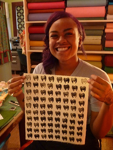 Diana's finished stamped fabric!