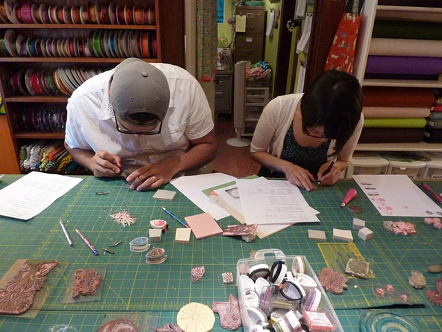students carving