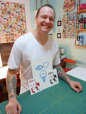 Andy with his prints -- who doesn't ♥ ice cream?