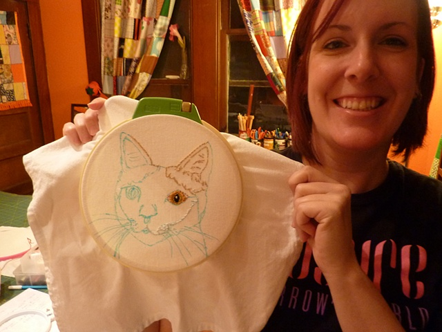 stitched cat portrait in progress