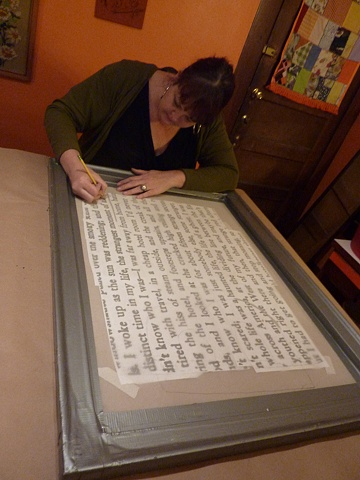 Kat preparing a giant paint screen