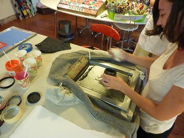 Lauren preparing to print her stylin' Lafayette hoodie.