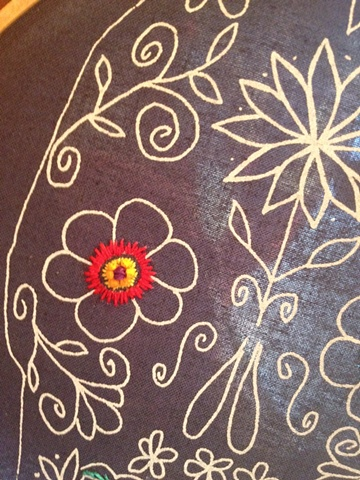 The colors and tiny straight stitches Emily chose for the eye flower on her sugar skull look great on the charcoal gray background.