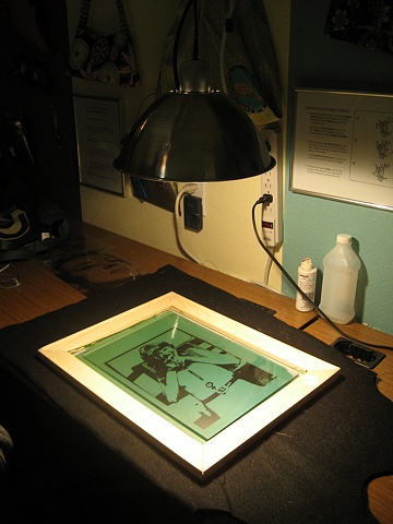 exposing a photo emulsion silkscreen