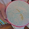 Carole began her project with satin stitch.