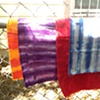 wax-resisted fabrics waiting for overdye