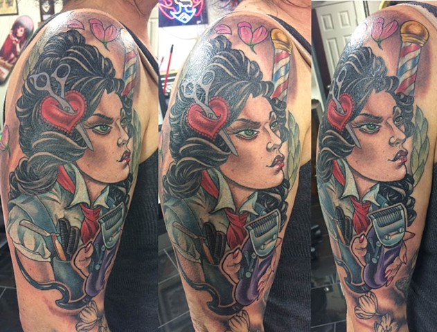 barberette pinup up tattoo