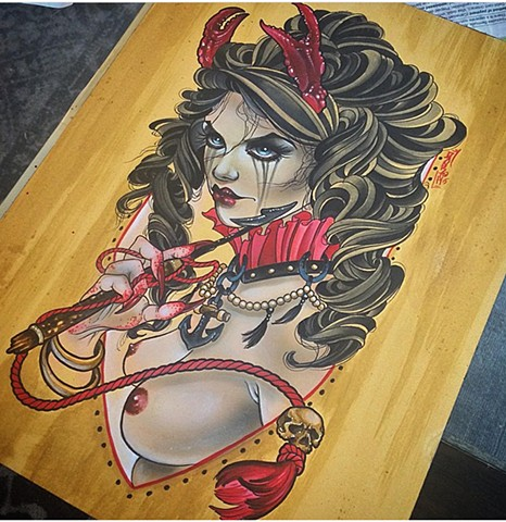 Pinup girl sea witch giclee illustration