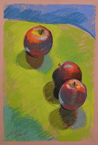Three Apples on a Green Surface