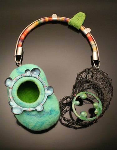 Contemporary jewelry, felted wool jewelry, enameling, neck piece