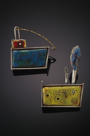 silver and enameled jewelry, brooch
