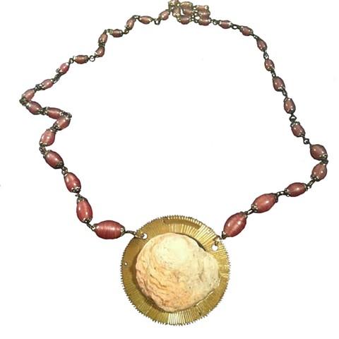 vintage purple beaded sunburst shell necklace