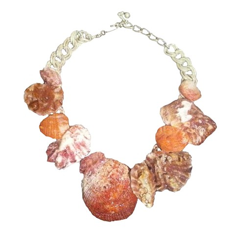 pink shell collar necklace