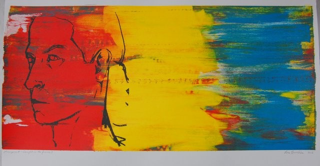 Caught in the Frame (1); Silkscreen monoprint series, framed.