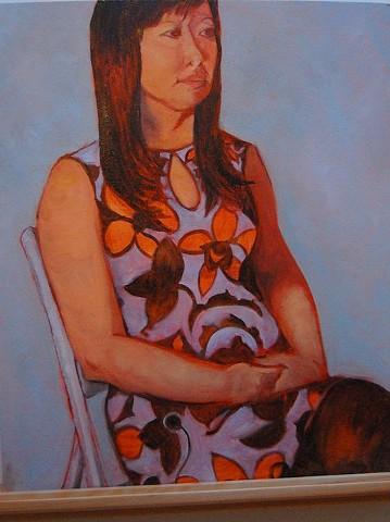 Jen in an orange-flowered dress, 2013; Oil on canvas (unframed)