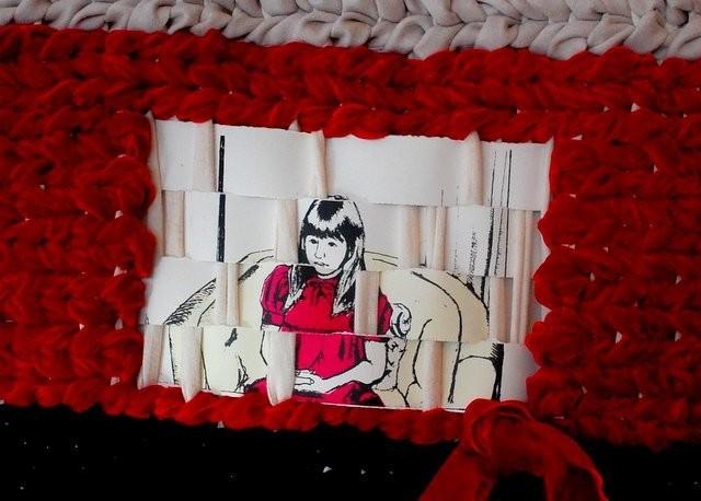 Weaving with silkscreen print and handmade loom frame