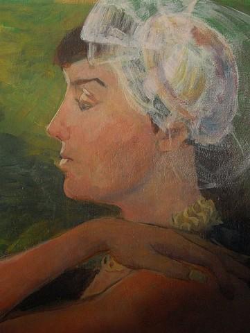 Christina, portrait on a found canvas, 2012; acrylic on canvas