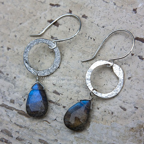 Hammered Hoops Small with Labradorite
