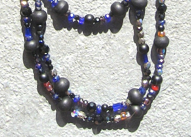 Detail, Black & blue themed Buddha beads