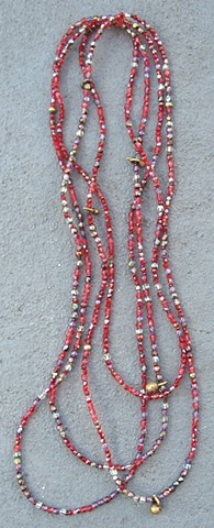 Ruby hue & brass necklace