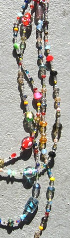 Detail, Floral themed multi-colored wrap necklace