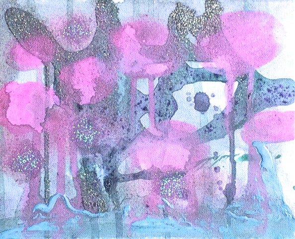 Untitled (figure behind pink dots)