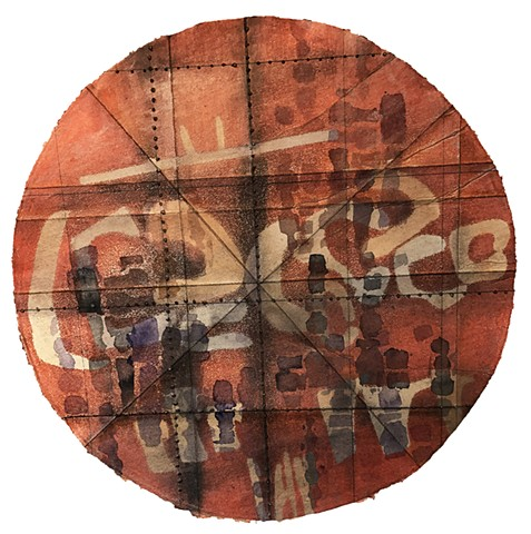 Contemporary mixed-media mandala on handmade paper round by Carmi Weingrod