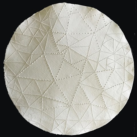 Contemporary mandala on pierced handmade paper round by Carmi Weingrod