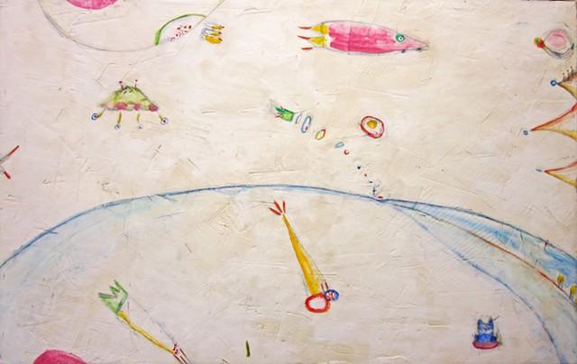 Sea of space. sci-fi painting. art. watercolor fresco. o*Live.o-Live. oliveland