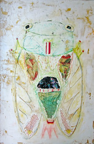 Rocket Bug. Bug painting. Watercolor fresco. o*Live. o-Live. oliveland