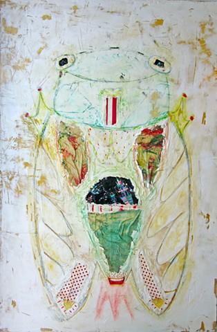 Rocket Bug. Bug painting. Watercolor fresco. o*Live. o-Live. oliveland