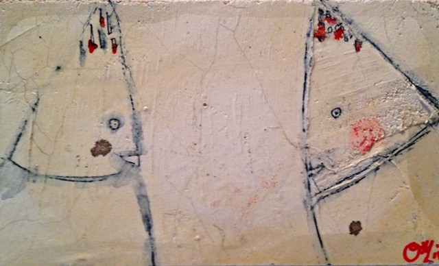 Coneheads. Watercolor fresco. painting. o*Live. o-Live. oliveland