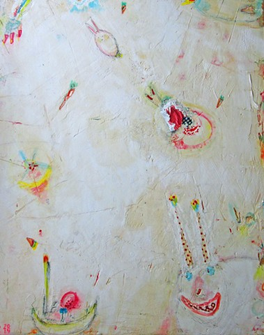 Basket Case. Watercolor fresco. Painting of rabbit. Abstract. o-Live. o*Live. oliveland