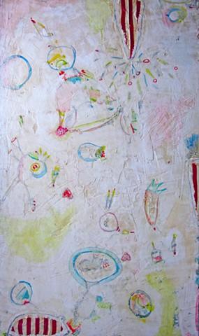 Monkey Mind. Abstract painting. Watercolor fresco. o*Live. o-Live. oliveland