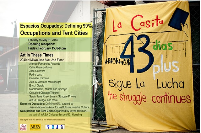 Espacios Occupados/ Occupations and Tent Cities Poster for show at Art In These Times, 2013