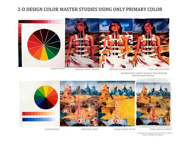 2D Master Studies using primary colors