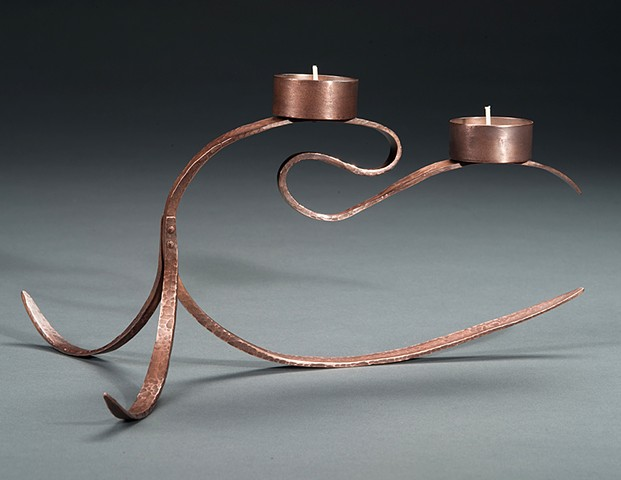 forged copper candlestick