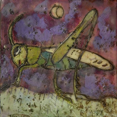 Grasshopper Encaustic Zoo Series