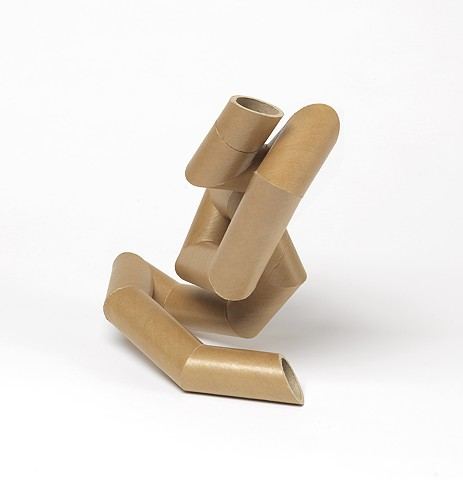 abstract figure folded into itself, as if in a yoga position, by Laura Evans