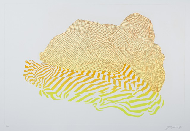 yellow etching and screenprint Janet Marcavage