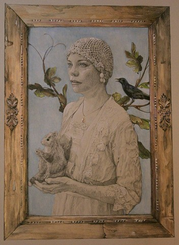 Lady with Starling and Squirrel