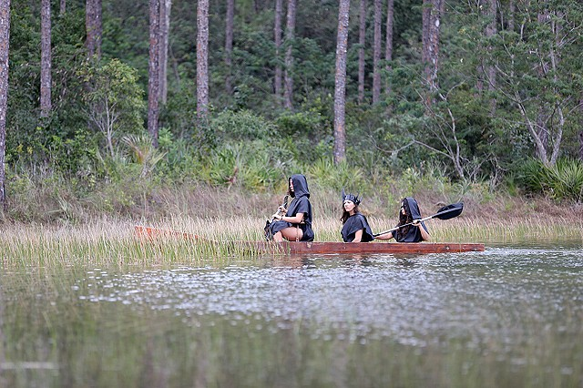 The Furies of the Swamp crossing the lake