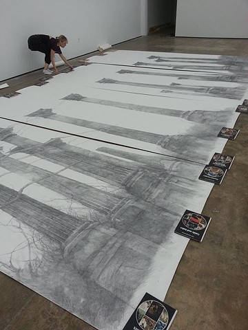 Preparing to install largest drawing to date for solo exhibition at Primary Projects